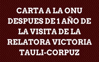 Carta a la onu despues de 1 año de la visita de la relatora Victoria Tauli-corpuz